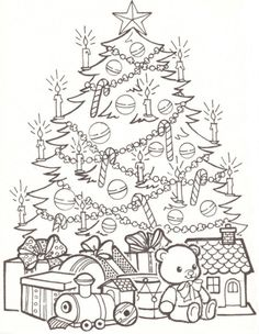 Christmas Art For Kids, Colorful Christmas Tree, Christmas Drawing, Christmas Colors, Christmas Crafts, Coloring Book Pages, Printable Coloring Pages, Coloring Pages For Kids, Diy Xmas