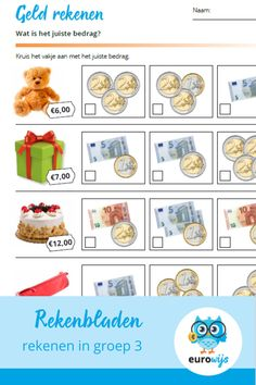 Preschool Math, Teaching Math, Euro, Education World, Math Games, Worksheets, Kids, Money, Learn German