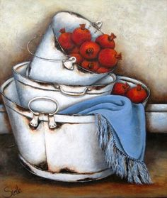 Art Painting by Stella Bruwer includes Pomogranates in zinkbath, this example of Still Life has inspired this exceptionally talented artist. View other Paintings by Stella Bruwer in our Online Art Gallery. Decoupage Vintage, Vintage Art, Stella Art, Decoupage Printables, South African Artists, Tole Painting, Kitchen Art, Pictures To Paint, Vintage Pictures