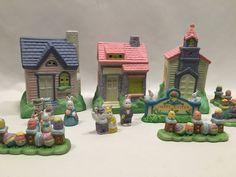 Hopalong Hollow Porcelain Easter Village Set Trim Trends No Lights #TrimTrends