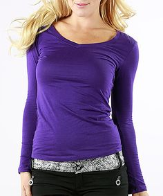 Another great find on #zulily! Purple Scoop Neck Top - Plus #zulilyfinds