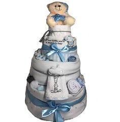 Τετραόροφο diaper cake για το μαιευτήριο για να προσφέρετε στους νέους γονείς Nappy Cake, Children, Young Children, Boys, Kids, Diaper Bouquet, Child, Kids Part, Kid