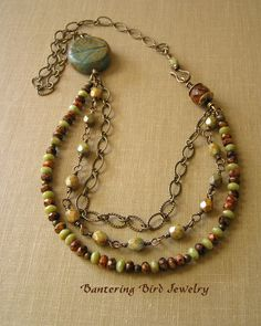 Autumn Colors Beaded Necklace with Czech Glass by BanteringBird