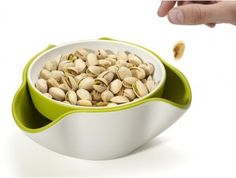 Joseph Joseph's Double Dish Server is the perfect dish when serving nuts, olives and other foods that require waste receptacles. Place food in top dish and place waste underneath – out of sight and out of the way. - $18.00