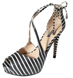 High heels pumps, black and white, by Guess