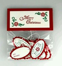 Handmade Gift Tags for the Presents Christmas Paper Crafts, Teacher Christmas Gifts, Stampin Up Christmas, Handmade Christmas, Christmas Projects, Christmas Punch, Teacher Gifts, Merry Christmas, Inexpensive Christmas Gifts