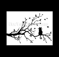 Cat in a tree silhouette cross stitch pattern. Looks amazing as framed art.
