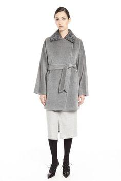 Cappotto con cintura, grigio - Diffusione Tessile