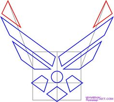 How to Draw the Air Force Symbol, Step by Step, Symbols, Pop . Air Force Symbol, Military Retirement, Military Mom, Air Force Mom, Air Force Gifts, Military Crafts, Promotion Party, Applique, Quilt Of Valor