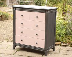 CHEST OF DRAWERS - Contemporary - Hand Painted - Annie Sloan Paint - Antoinette Pink/Graphite - Wax Finished - Bedroom/Hall/Living Room
