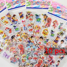 10 PCS 3D Patrol Dog Stickers Cartoon Dog Patrulla Canina Dog For Children Gift For Birthday Party Favor
