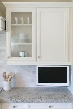 Kitchen With LCD TV Under Cabinets
