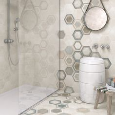Hexagon shaped tile - Hexagon Rift- Enormous basalt columns, Found in Ireland, springs to mind. With a honeycomb layout. Hexagon rift unique beehive pattern, is very much on trend. Patchwork Hexagonal, Hexagon Tiles, Hexagon Shape, Mosaic Tiles, Wall Tiles, Tiles R Us, Steam Showers Bathroom, Bathrooms, Honeycomb Pattern