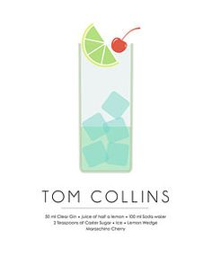 Mixed Media - Tom Collins Classic Cocktail Minimalist Print by Studio Grafiikka