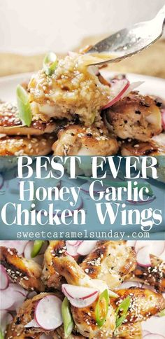Honey Garlic Chicken Wings that are finger licking good! These delicious wings are easy to make, oven baked and the best thing since sliced bread. #chicken #chickenwings #chickenwingsrecipes #easyrecipe #recipe #dinner #dinnerrecipe #honey #honeygarlicchickewings #wings #poultry #dinnerrecipes @sweetcaramelsunday