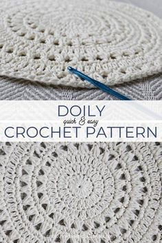 Free Crochet Doily Pattern & Tutorial Make this quick & easy crochet doily pattern today! Free Crochet Pattern from Rescued Paw Designs www. Crochet Circle Pattern, Free Crochet Doily Patterns, Crochet Doily Rug, Crochet Placemats, Crochet Dollies, Crochet Circles, Crochet Patterns For Beginners, Crochet Squares, Thread Crochet
