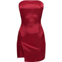 Burgundy Bandeau Satin Split Bodycon Dress ($30) ❤ liked on Polyvore featuring dresses, red, bodycon dress, burgundy dresses, body con dress, bandeau bodycon dress and red dresses