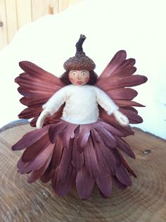 Brown and white flower fairy by LightofdayCreations on Etsy