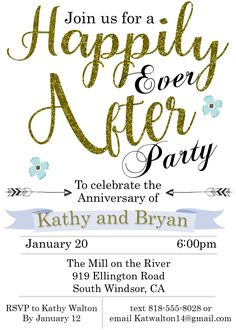 Happily Ever After anniversary party invitations Luau Party Invitations, Invitation Flyer, Wedding Anniversary Invitations, Sweet Sixteen Invitations, Invitation Wording, Anniversary Parties, Invitation Templates, Farewell Party Quotes, Farewell Parties