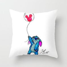 Stitch doesn't want to leave Disney World Throw Pillow by Trinity Bennett | Society6