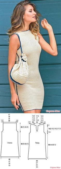 . Платье-футляр с контрастной отделкой - Все в ажуре... (вязание крючком) - Страна Мам // Larisa Kolomiiets