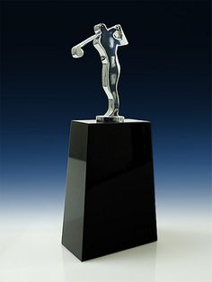 A stunning and memorable golf trophy with a polished chrome mounted on jet black crystal. Black Crystal and Chrome Trophy Plaques, Golf Trophies, Crystal Awards, Trophy Design, Custom Awards, Fundraising Events, Golfers, Black Crystals, Corporate Gifts