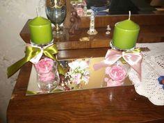 Porta candele realizzati con dei calici in vetro
