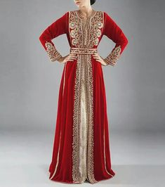 Red and gold Moroccan caftan