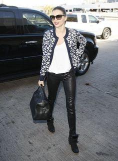 Miranda Kerr in Helmut Lang Leather Leggings : Casual Style : Lovely Patterned Cardigan