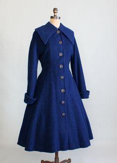 Vintage 1940s Blue New Look Princess Coat