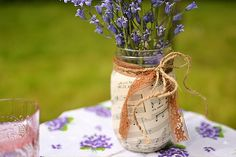 Cute music sheets wrapped around jars for music lovers!  #music #wedding #theme