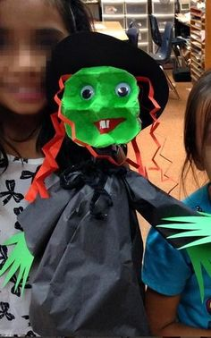 Egg Carton Witch Puppet - Fun Halloween craft for kids!