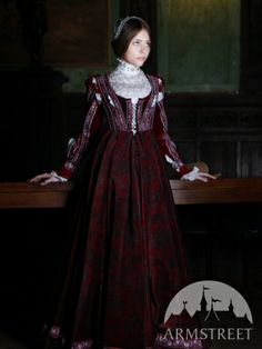 "Renaissance Dress Florentine Natural Flocked Velvet ""Beautiful Ginevra"""