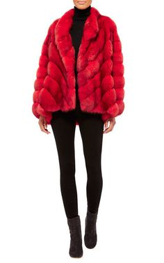 HELEN YARMAK Red Reversible Barguzine Sable Coat $55,200 ($27,600.00 Deposit)