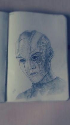 Nebula (Guardians Of The Galaxy) Drawing Galaxy Drawings, Guardians Of The Galaxy, Dark Art, Manga Anime, Fantasy Art, Grunge, My Arts, Fantastic Art, Fantasy Artwork