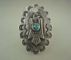ULTRA RARE OLD NAVAJO HAND STAMPED SILVER & TURQUOISE KEY FOB NECKLACE PENDANT