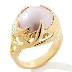 """13.5mm Cultured Mabe Pearl Vermeil """"Leaf"""" Ring at HSN.com."""