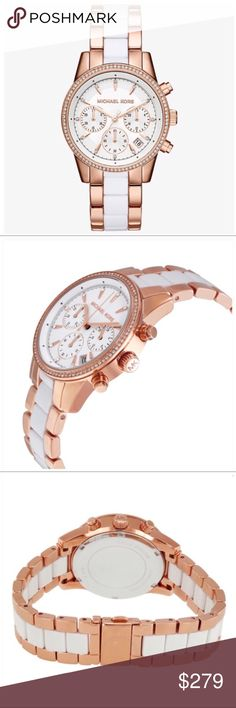 Michael Kors Rose Gold Crystal Link Watch NWT Michael Kors rose-gold tone, white acetate & crystal link strap watch offers the sophistication of the city fashionista!   Radiant and refined, this stunning watch fuses rose gold-tone stainless steel & white acetate in a classic menswear bracelet. Chronograph sub dials enhance the chic statement, while a pavè-trimmed bezel lends subtle shine  Length: 8 in -Mid-Size  -37mm Case  -Chronograph Movement  -Clasp Fastening  -Water Resistant Up to 5…