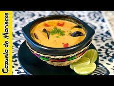 CAZUELA DE MARISCOS 🦐   Cómo hacer una Cazuela de Mariscos (#94) - YouTube Colombian Food, Seafood Dinner, Lunch Menu, Shrimp Recipes, Paella, Street Food, Thai Red Curry, A Table, Good Food
