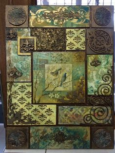 Beautiful collage, texture, colours and balanced imagery Mixed Media Collage, Mixed Media Canvas, Collage Art, Tile Art, Mosaic Art, Inspiration Artistique, Decoupage Art, Clay Tiles, Paperclay