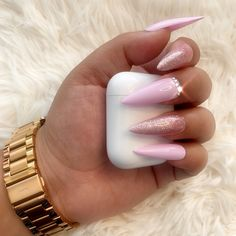 Us Nails, Glue On Nails, Glitter Nails, Hair And Nails, Pink Stiletto Nails, Best Acrylic Nails, Acrylic Nail Designs, Nail Art Designs, Baby Pink Nails Acrylic