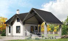 060-001-П Проект двухэтажного дома мансардой и гаражом, маленький домик из пеноблока