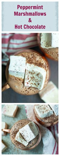 Homemade Peppermint Marshmallows with Hot Chocolate? Yes, please. This recipe is easy to make and completely refined sugar, gluten and dairy free!