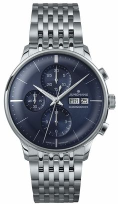 Junghans Meister Chronoscope Sunray Blue Dial Day Date  027/4528.45