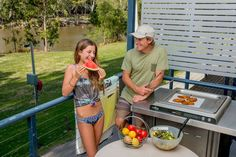 You'll love the BBQ on the deck of our Riverfront Deluxe Villas.