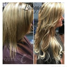 """We can't get enough of this """"Ash Brown/Ash Blonde"""" Balayage clip-in Extensions set! Welcome to our Royal Family Erin you look amazing!! www.QueenCHair.com"""