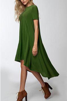 Lunch in Paris High Low Swing Dress (Green) – ShopLuckyDuck Hi Low Dresses, Pretty Dresses, Short Sleeve Dresses, Swing Dress, Dress Skirt, Dress Up, Winter Fits, Green Girl, Green Fashion