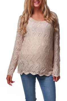 Beige Knit Sparkle Maternity Sweater
