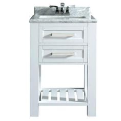 Home Decorators Collection, Paige 24 in. Vanity in White with Marble Vanity Top in Carrara White, Paige 24 Vanity at The Home Depot - Mobile