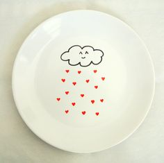 Cute Cloud Raining Red Hearts Ceramic Side Plate 21cm 8inches White Homeware on Etsy, $16.85 AUD